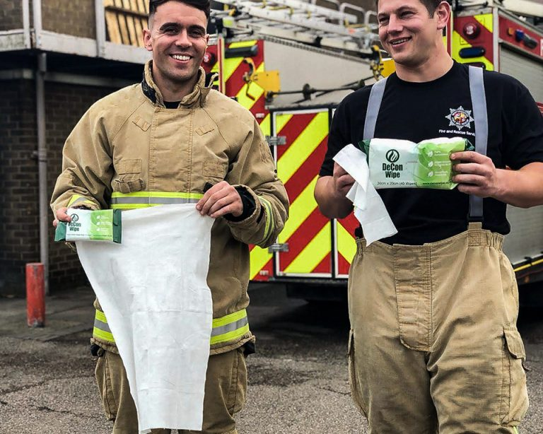 Firefighters Demonstrate De-Wipe After Fire Decontamination Wipes