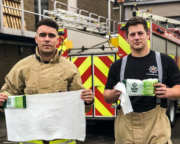 Firefighters Display Various De-Wipe Pack Sizes