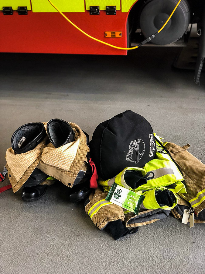 De-Wipe Fire Equipment Boots and PPE