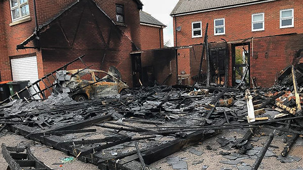 Fire Debris, Ash and Soot After House Fire