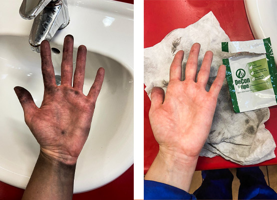 De-Wipe used to clean pollutants and dirt from hands