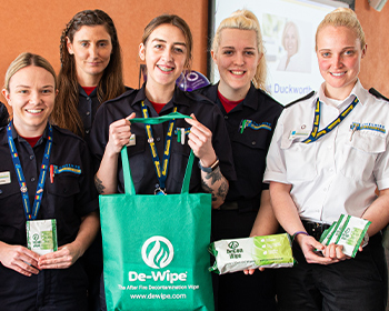 De-Wipe Decontamination Wipes with Women Working in the Emergency Services