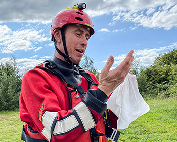 Water Rescue Firefighter Using De-Wipe Sanitiser Wipe to Eliminate Waterborne Pathogens from Skin